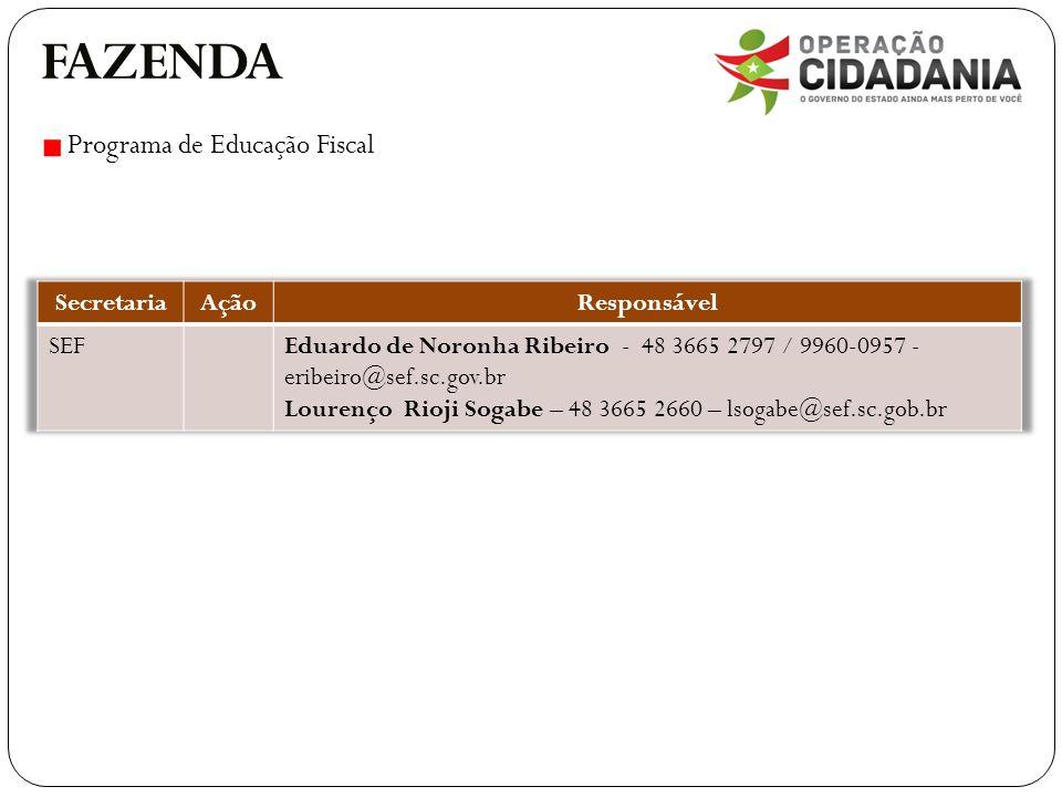 FAZENDA Programa de Educação Fiscal Secretaria Ação Responsável SEF