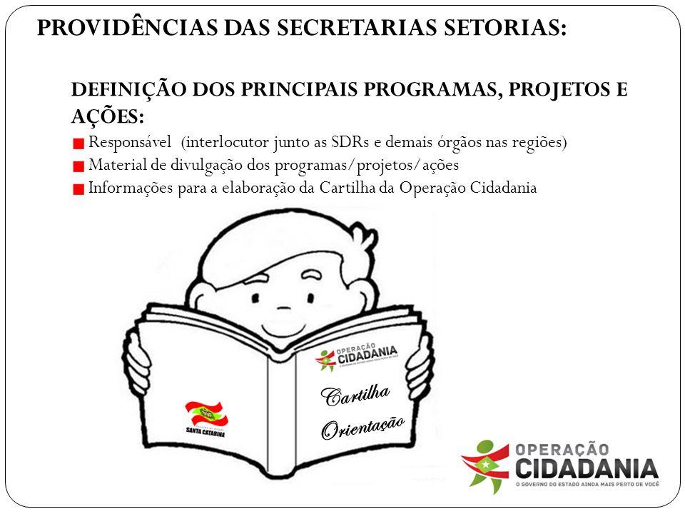 PROVIDÊNCIAS DAS SECRETARIAS SETORIAS: