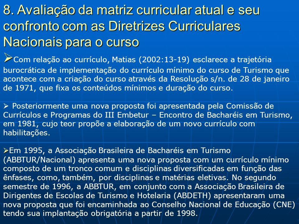 8. Avaliação da matriz curricular atual e seu confronto com as Diretrizes Curriculares Nacionais para o curso