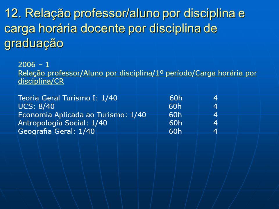 12. Relação professor/aluno por disciplina e carga horária docente por disciplina de graduação