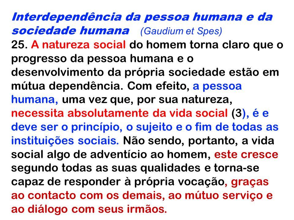 Interdependência da pessoa humana e da sociedade humana (Gaudium et Spes)