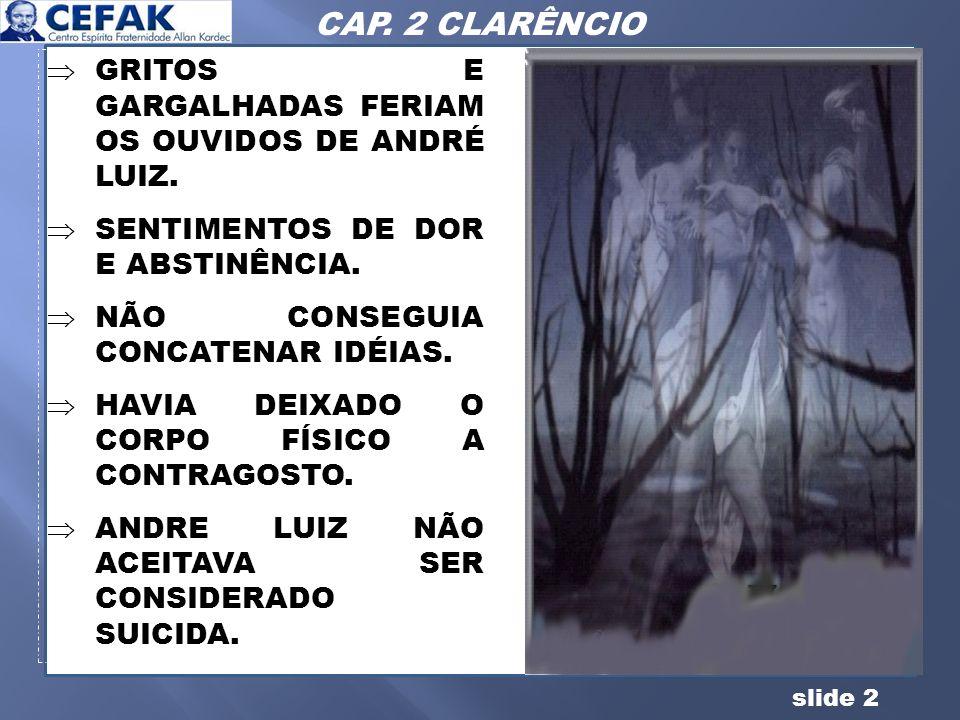 CAP. 2 CLARÊNCIO GRITOS E GARGALHADAS FERIAM OS OUVIDOS DE ANDRÉ LUIZ.