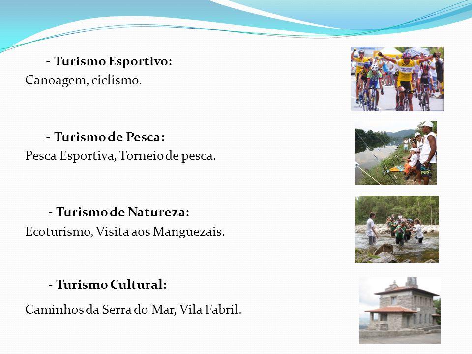 - Turismo Esportivo:Canoagem, ciclismo. - Turismo de Pesca: Pesca Esportiva, Torneio de pesca. - Turismo de Natureza: