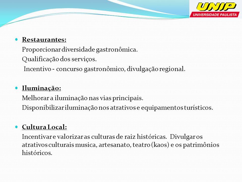 Restaurantes:Proporcionar diversidade gastronômica. Qualificação dos serviços. Incentivo - concurso gastronômico, divulgação regional.