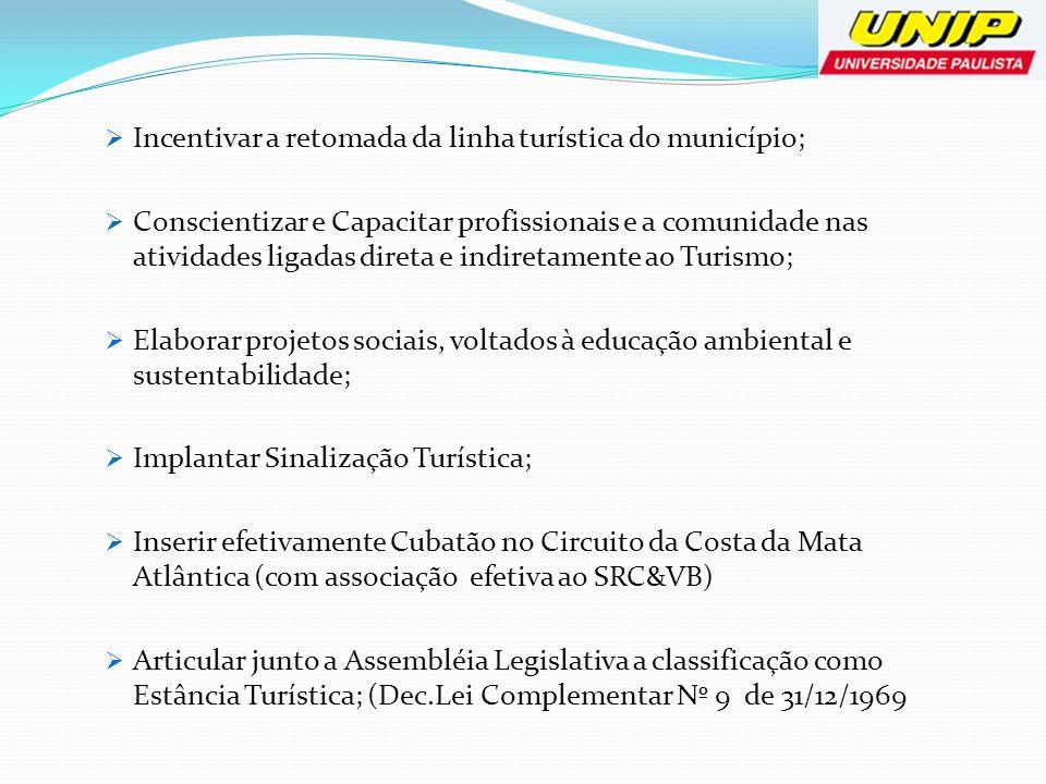 Incentivar a retomada da linha turística do município;