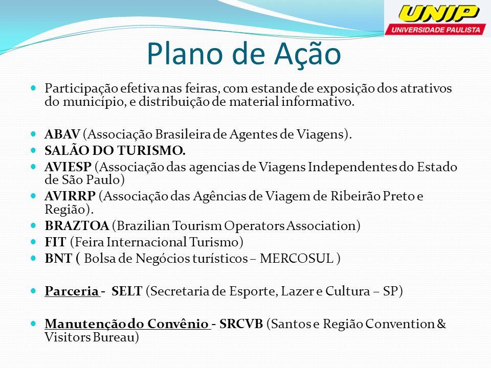 Plano de AçãoParticipação efetiva nas feiras, com estande de exposição dos atrativos do município, e distribuição de material informativo.