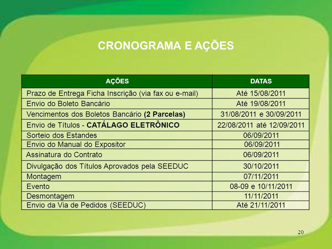 CRONOGRAMA E AÇÕES AÇÕES. DATAS. Prazo de Entrega Ficha Inscrição (via fax ou e-mail) Até 15/08/2011.