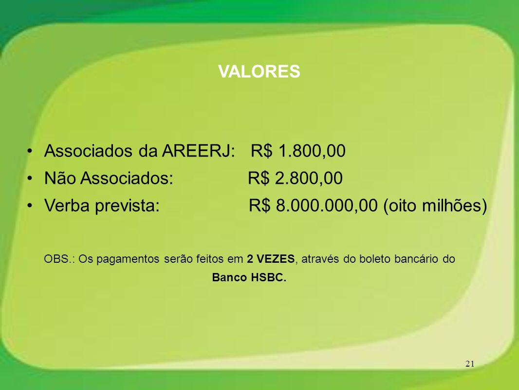 Associados da AREERJ: R$ 1.800,00 Não Associados: R$ 2.800,00