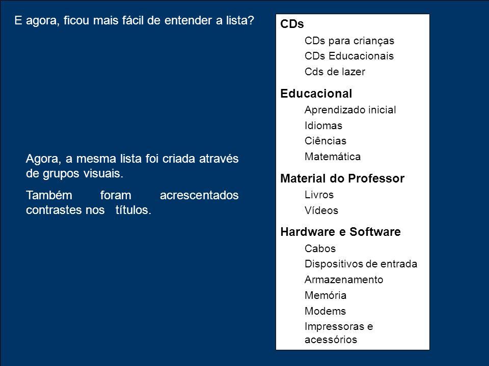 E agora, ficou mais fácil de entender a lista CDs