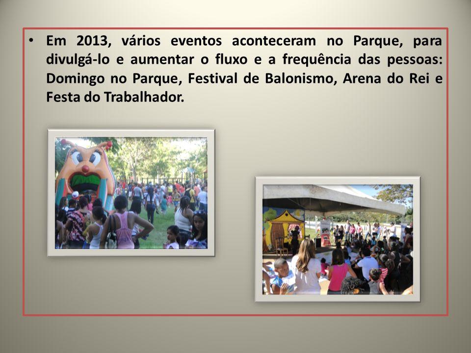Em 2013, vários eventos aconteceram no Parque, para divulgá-lo e aumentar o fluxo e a frequência das pessoas: Domingo no Parque, Festival de Balonismo, Arena do Rei e Festa do Trabalhador.