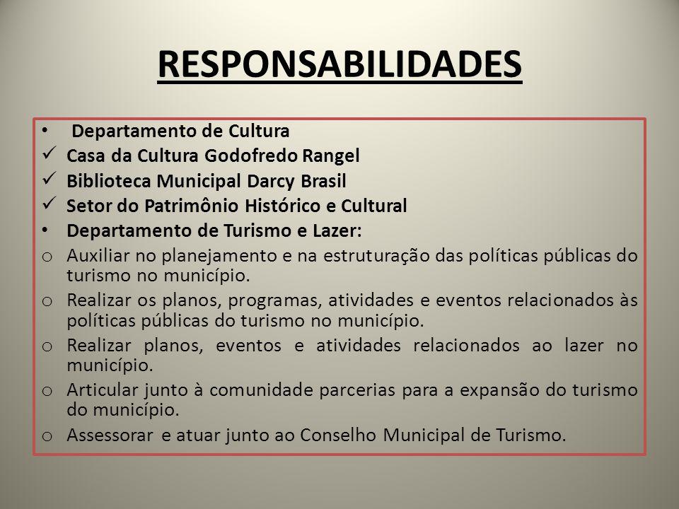 RESPONSABILIDADES Departamento de Cultura