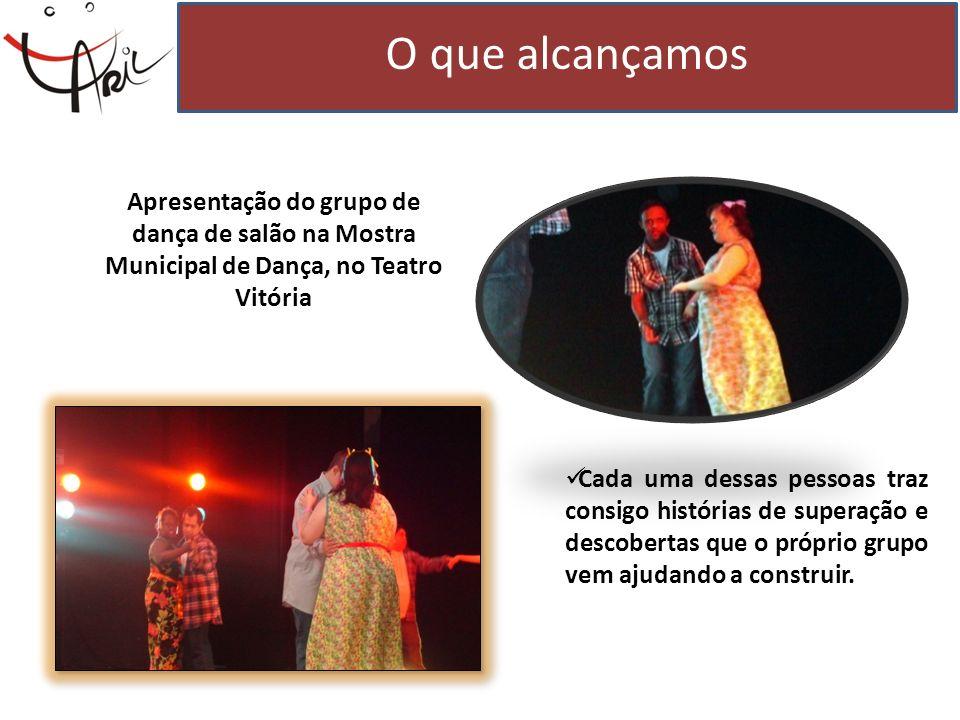 O que alcançamos Apresentação do grupo de dança de salão na Mostra Municipal de Dança, no Teatro Vitória.