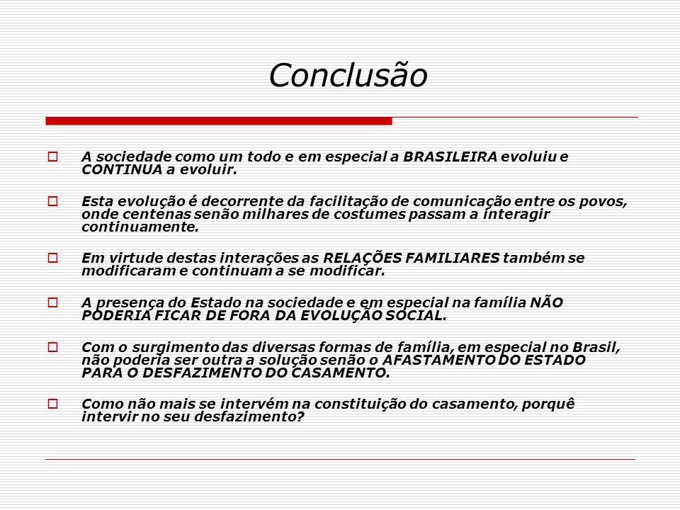 Conclusão A sociedade como um todo e em especial a BRASILEIRA evoluiu e CONTINUA a evoluir.