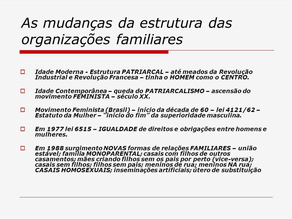 As mudanças da estrutura das organizações familiares