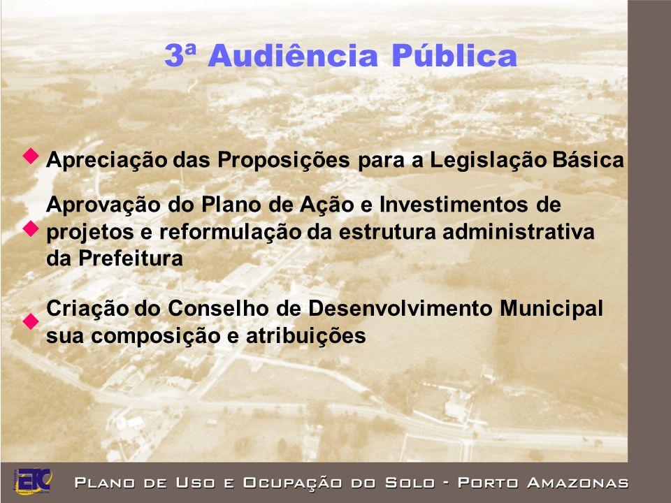 3ª Audiência Pública Apreciação das Proposições para a Legislação Básica. Aprovação do Plano de Ação e Investimentos de.