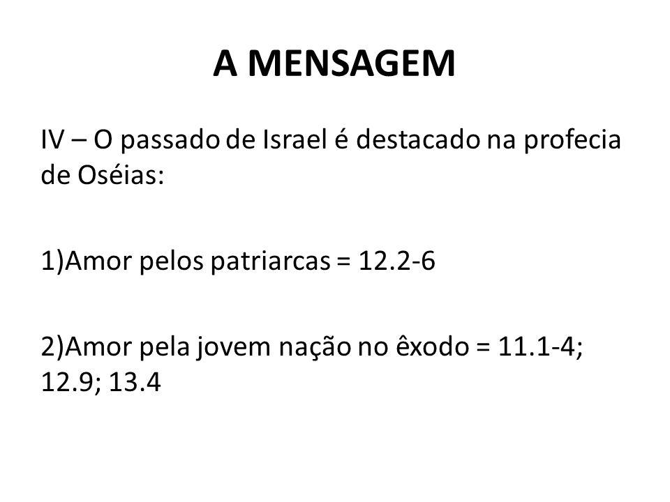 A MENSAGEM IV – O passado de Israel é destacado na profecia de Oséias: