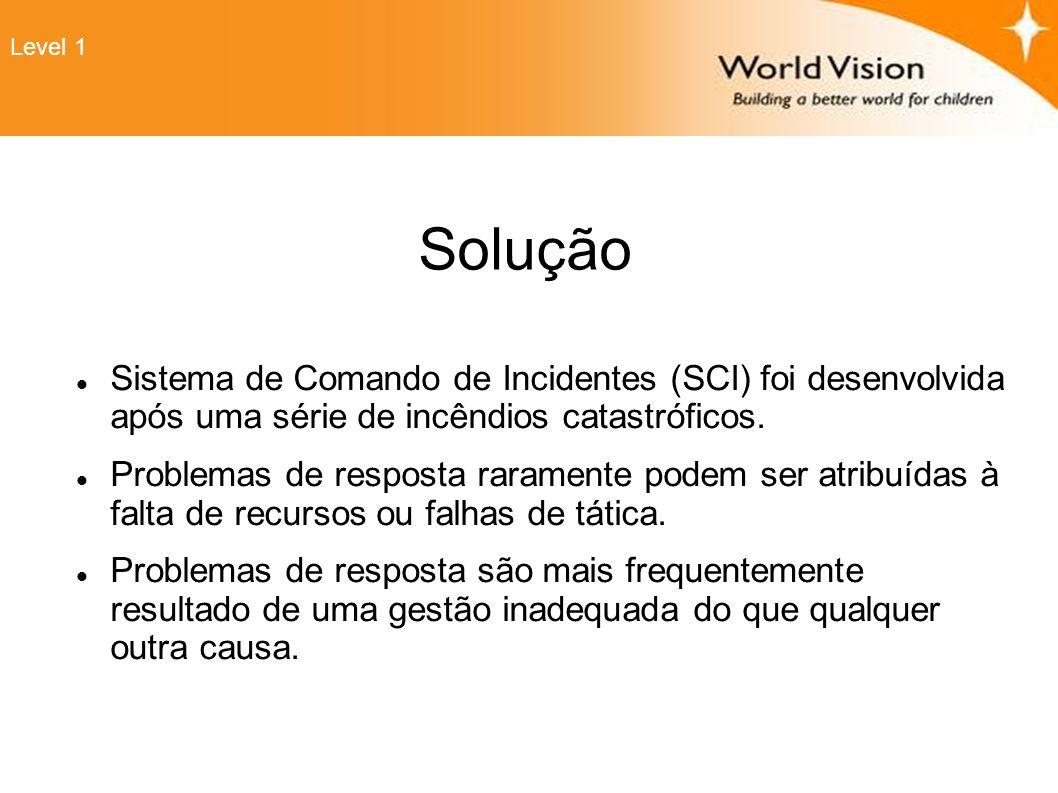 Level 1 Solução. Sistema de Comando de Incidentes (SCI) foi desenvolvida após uma série de incêndios catastróficos.