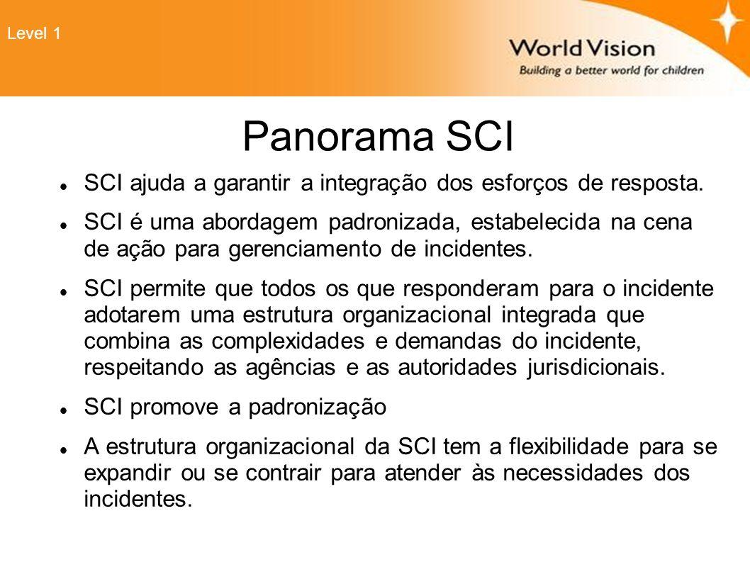 Level 1 Panorama SCI. SCI ajuda a garantir a integração dos esforços de resposta.