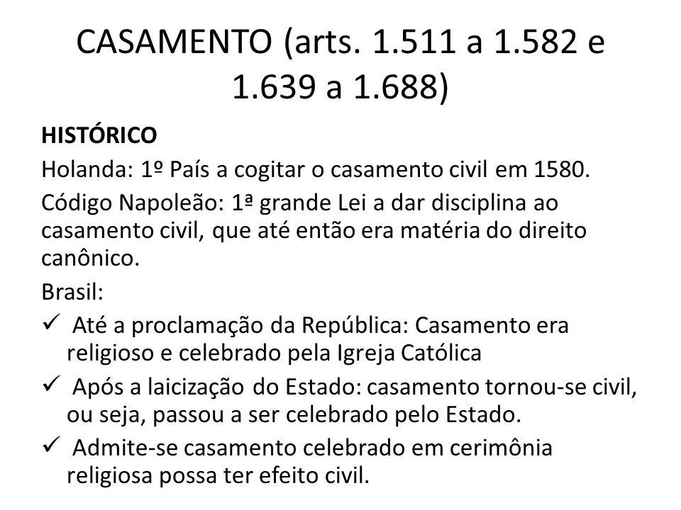CASAMENTO (arts. 1.511 a 1.582 e 1.639 a 1.688) HISTÓRICO
