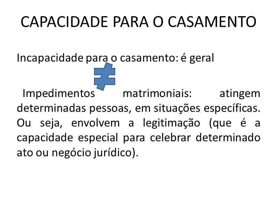 CAPACIDADE PARA O CASAMENTO