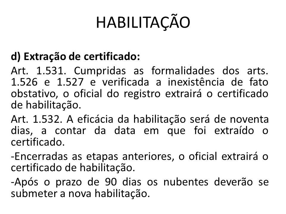 HABILITAÇÃO d) Extração de certificado: