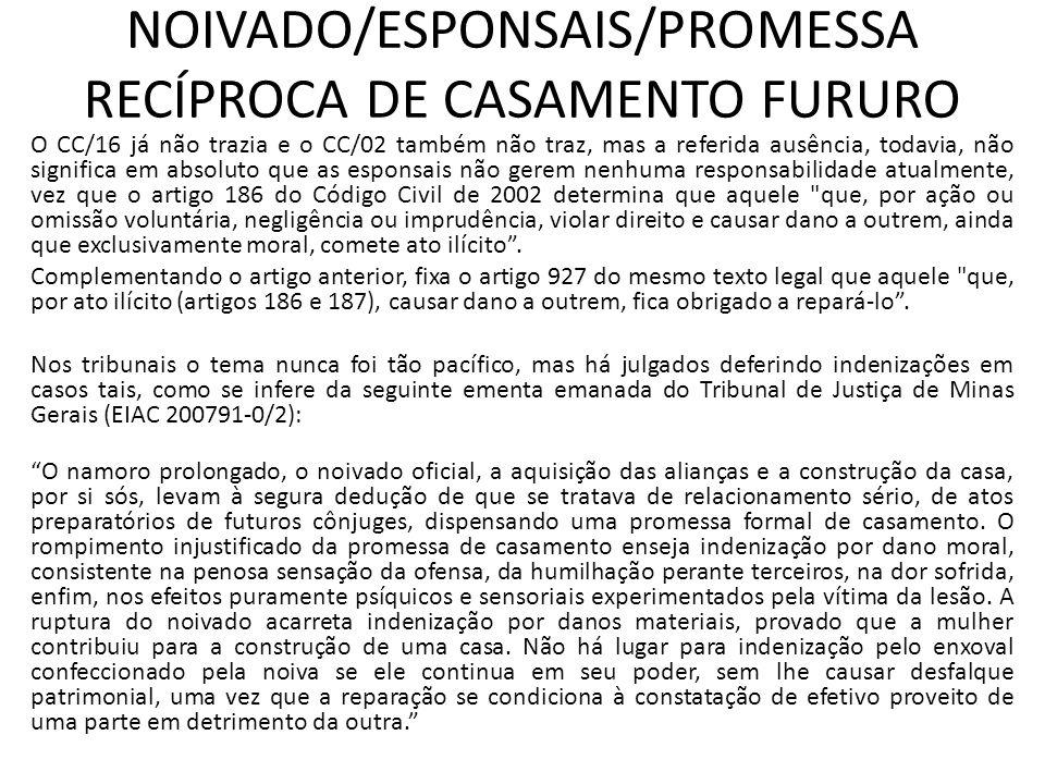 NOIVADO/ESPONSAIS/PROMESSA RECÍPROCA DE CASAMENTO FURURO