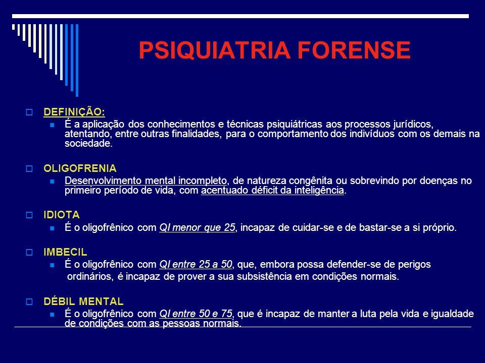 PSIQUIATRIA FORENSE DEFINIÇÃO: OLIGOFRENIA IDIOTA IMBECIL DÉBIL MENTAL