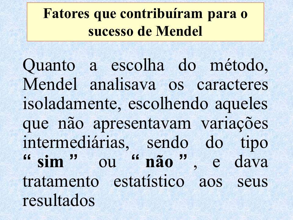 Fatores que contribuíram para o sucesso de Mendel