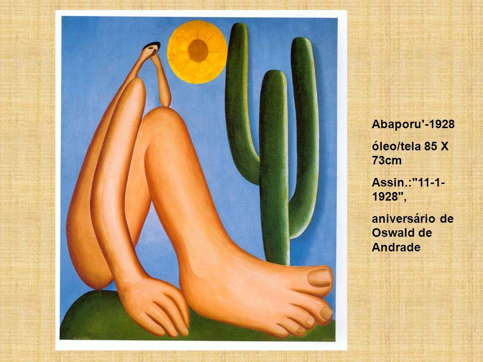 Abaporu -1928 óleo/tela 85 X 73cm Assin.: 11-1-1928 , aniversário de Oswald de Andrade