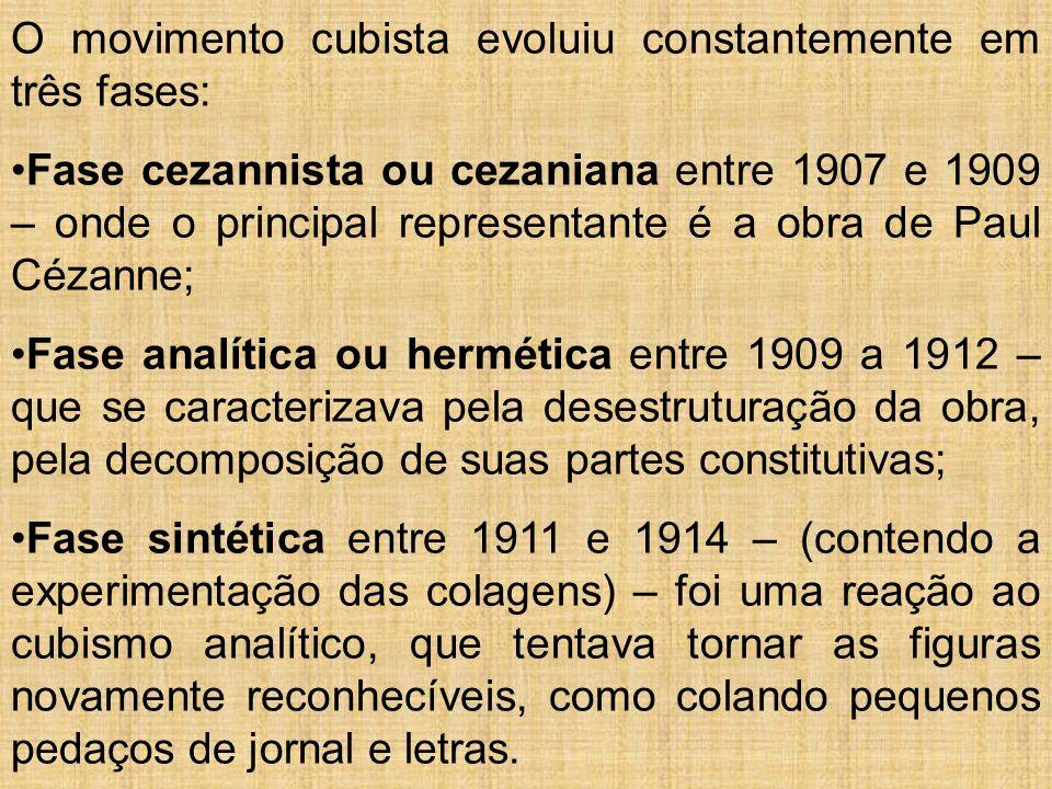 O movimento cubista evoluiu constantemente em três fases: