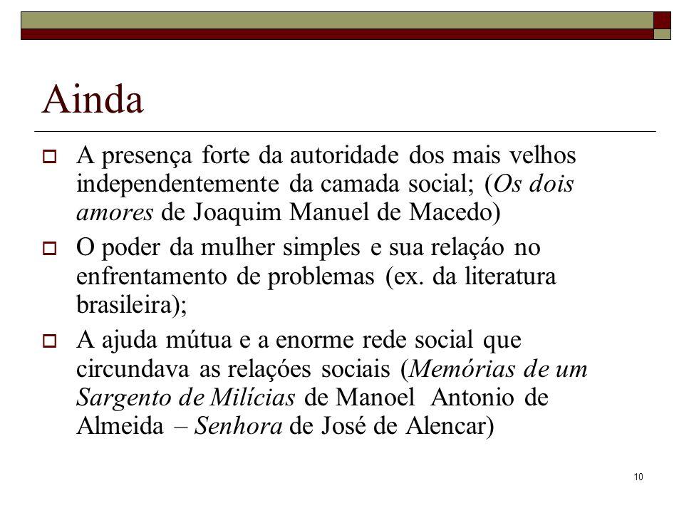 Ainda A presença forte da autoridade dos mais velhos independentemente da camada social; (Os dois amores de Joaquim Manuel de Macedo)