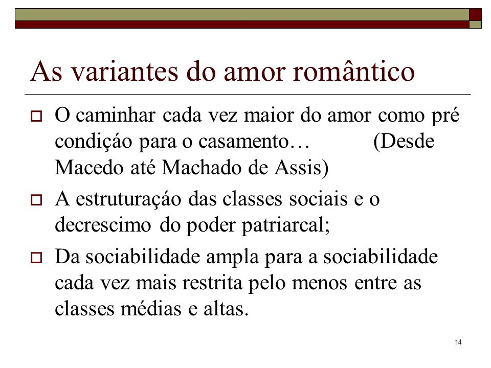 As variantes do amor romântico