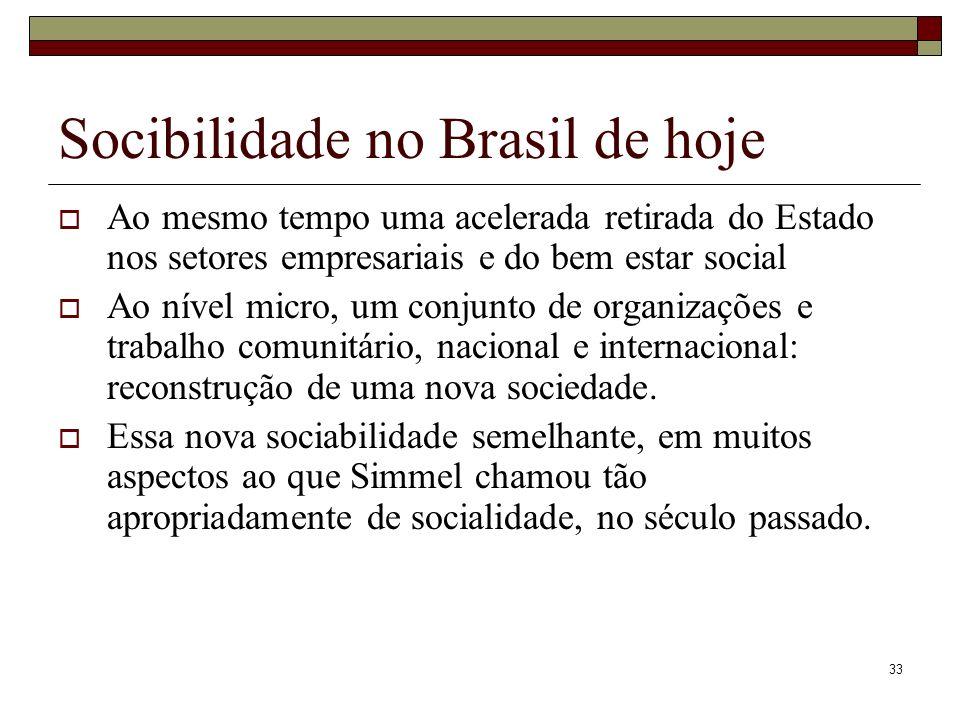 Socibilidade no Brasil de hoje