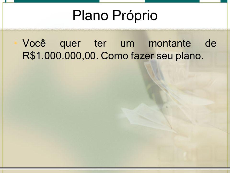 Plano Próprio Você quer ter um montante de R$1.000.000,00. Como fazer seu plano.