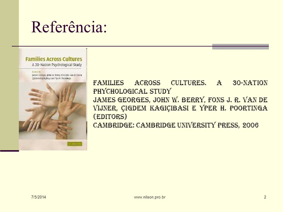Referência: Families across cultures. A 30-nation phychological study