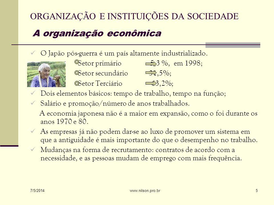 ORGANIZAÇÃO E INSTITUIÇÕES DA SOCIEDADE A organização econômica