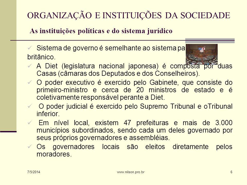 ORGANIZAÇÃO E INSTITUIÇÕES DA SOCIEDADE As instituições políticas e do sistema jurídico