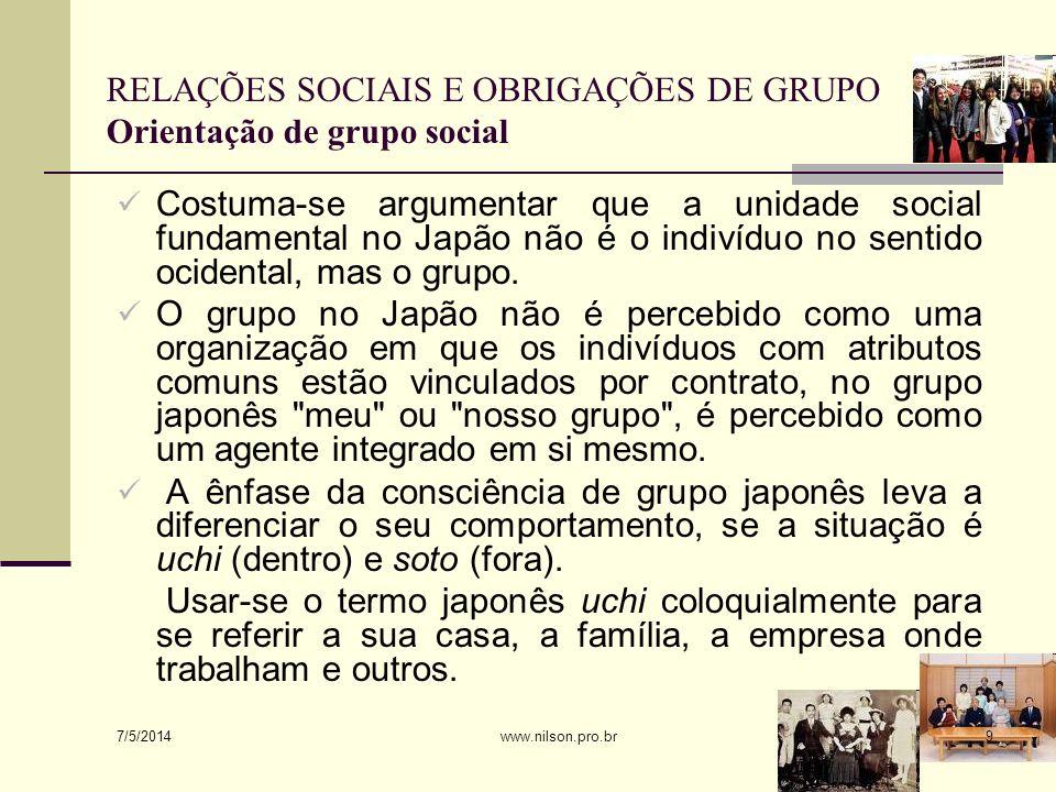 RELAÇÕES SOCIAIS E OBRIGAÇÕES DE GRUPO Orientação de grupo social