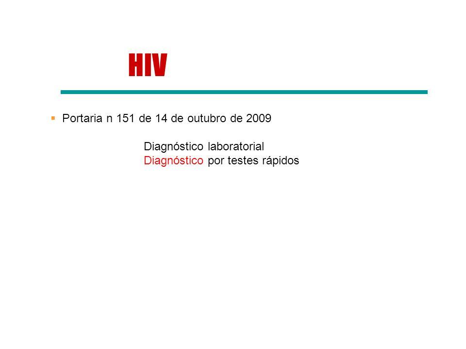 HIV Portaria n 151 de 14 de outubro de 2009 Diagnóstico laboratorial