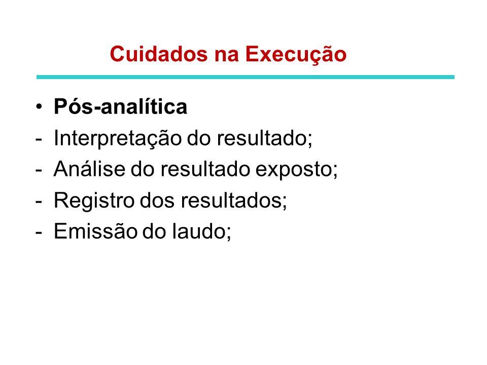 Cuidados na Execução Pós-analítica. Interpretação do resultado; Análise do resultado exposto; Registro dos resultados;