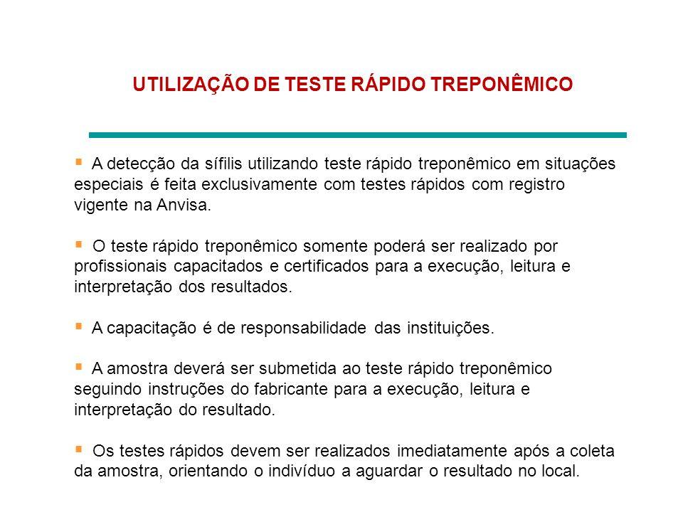 UTILIZAÇÃO DE TESTE RÁPIDO TREPONÊMICO