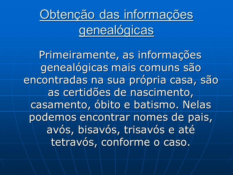 Obtenção das informações genealógicas