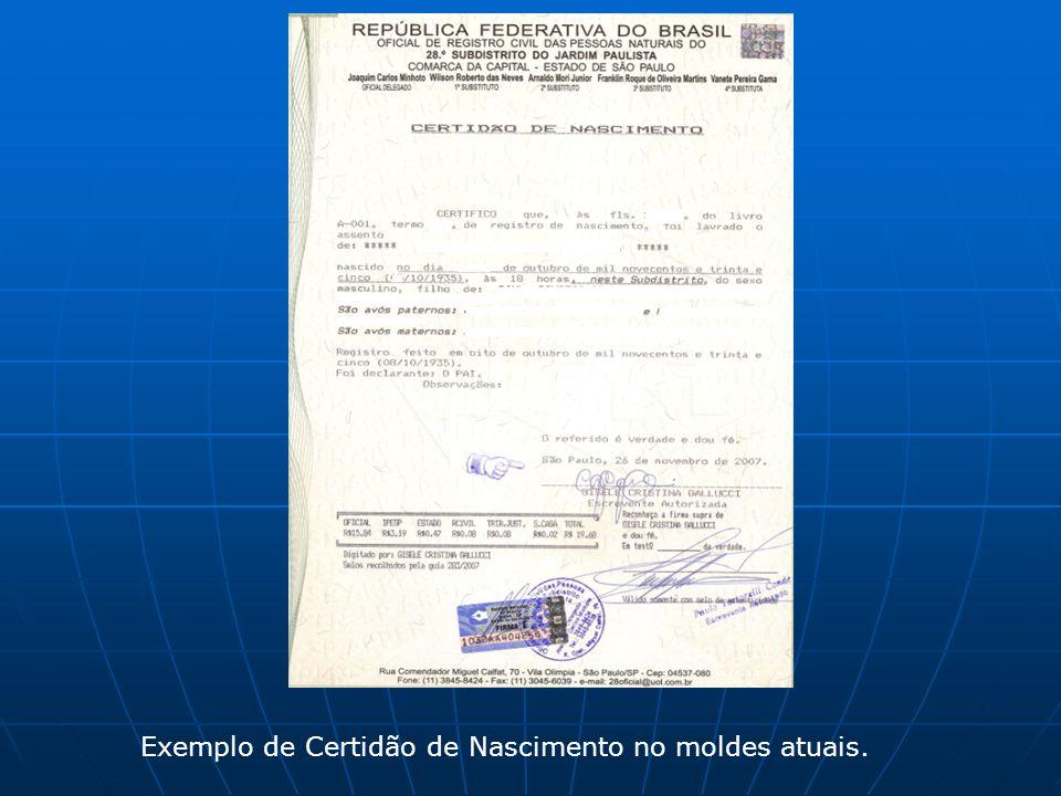Exemplo de Certidão de Nascimento no moldes atuais.