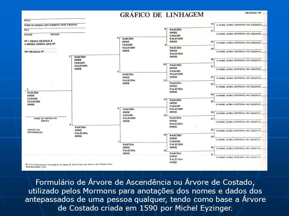 Formulário de Árvore de Ascendência ou Árvore de Costado, utilizado pelos Mormons para anotações dos nomes e dados dos antepassados de uma pessoa qualquer, tendo como base a Árvore de Costado criada em 1590 por Michel Eyzinger.