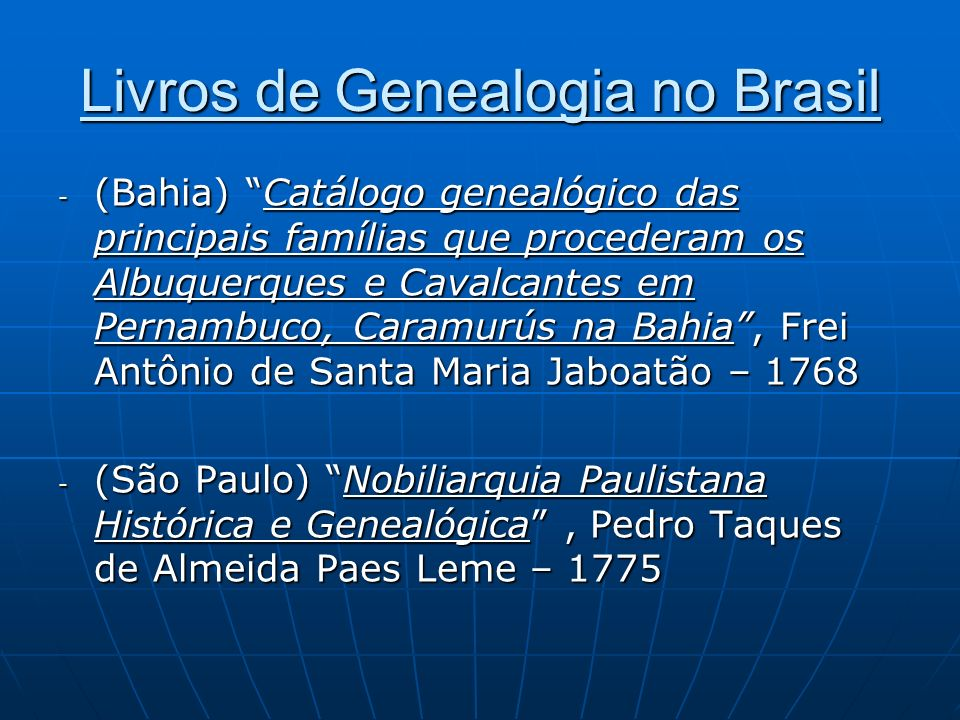 Livros de Genealogia no Brasil