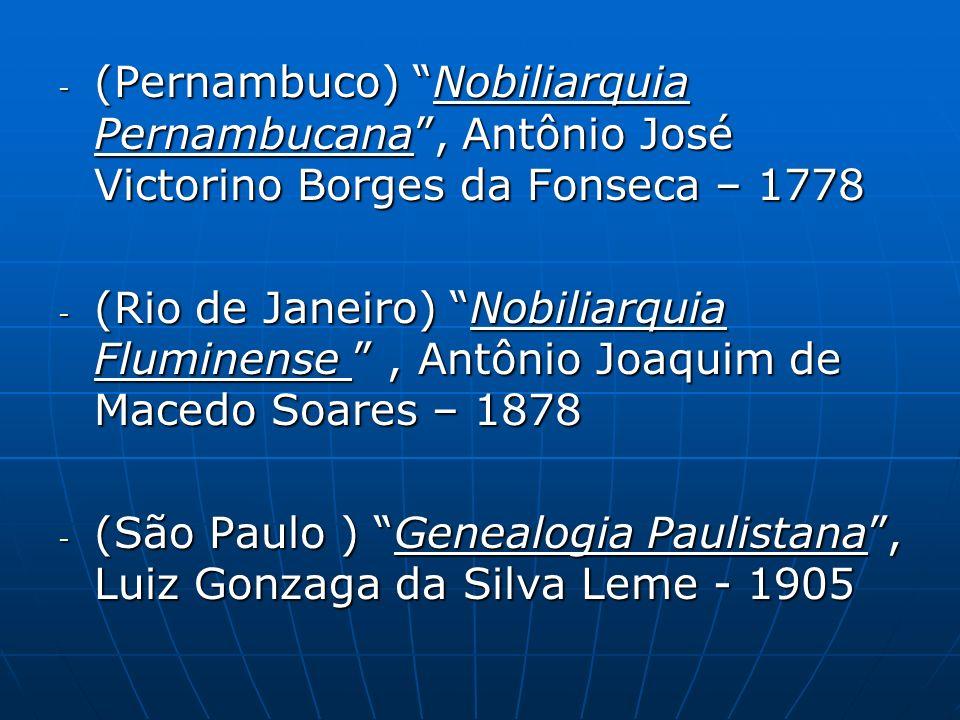 (Pernambuco) Nobiliarquia Pernambucana , Antônio José Victorino Borges da Fonseca – 1778