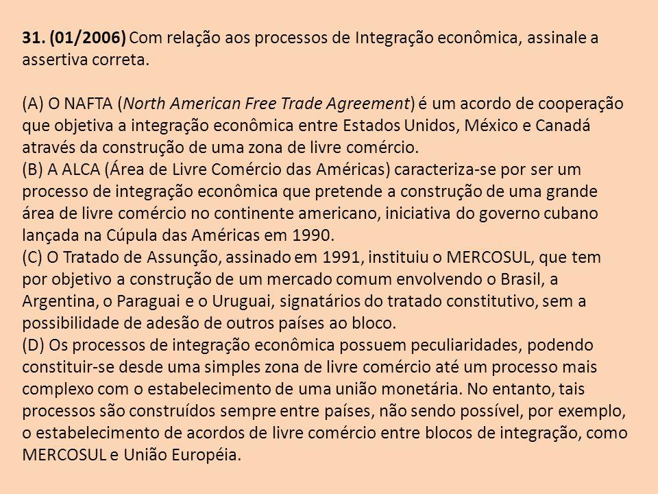 31. (01/2006) Com relação aos processos de Integração econômica, assinale a assertiva correta.