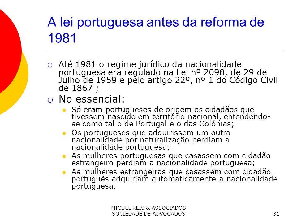 A lei portuguesa antes da reforma de 1981