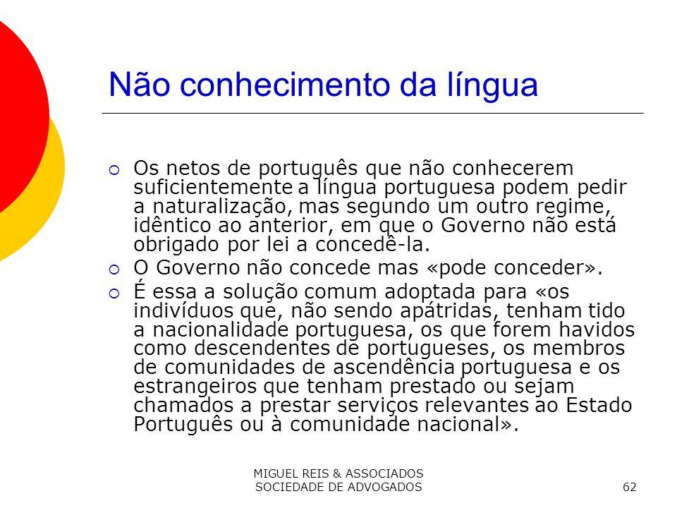 Não conhecimento da língua