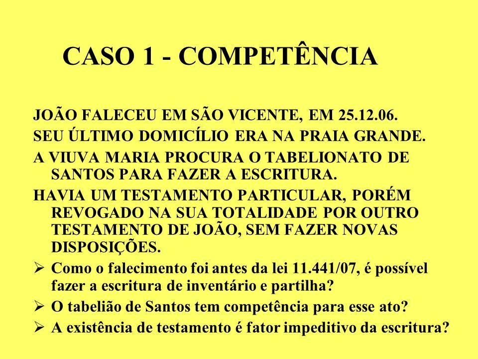 CASO 1 - COMPETÊNCIA JOÃO FALECEU EM SÃO VICENTE, EM 25.12.06.